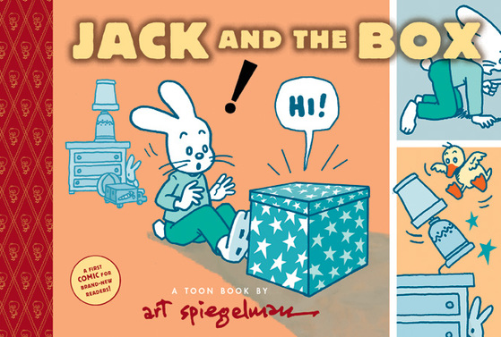 A colorful cover for Jack and the Box, showcasing a cartoon bunny and a box saying