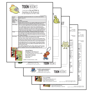 Four sheets of paper showing lesson plans and student activities to be used as classroom accompaniment for Zig and Wikki in Something Ate My Homework